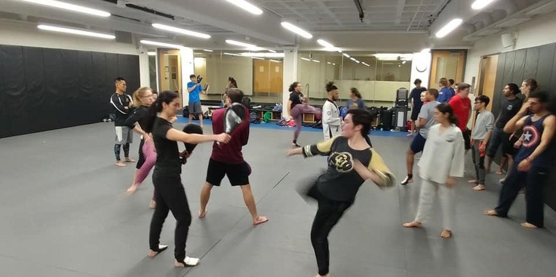 Students practicing taekwondo