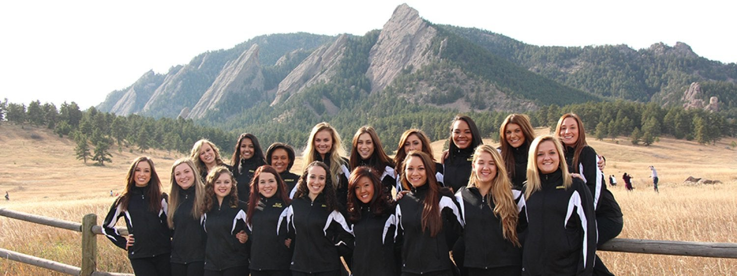 dance team in front of Flatirons