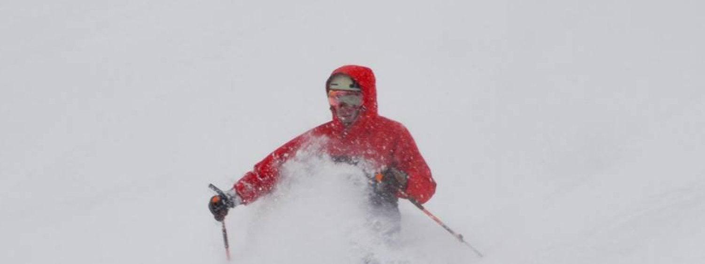 freestyle skier in powder