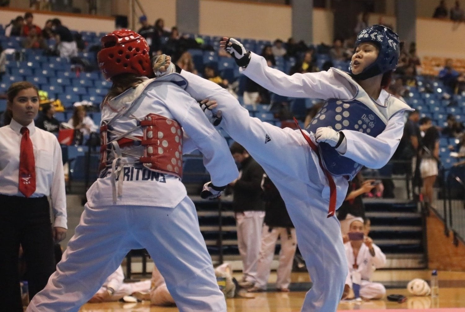 students sparring at a tournament