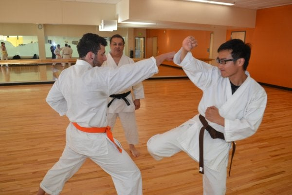 People participating in karate