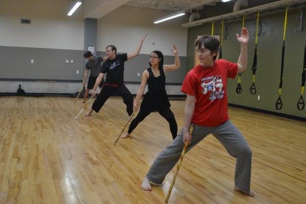 People practicing kendo