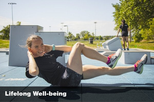 """woman doing some situps with the words """"lifelong well-being"""""""