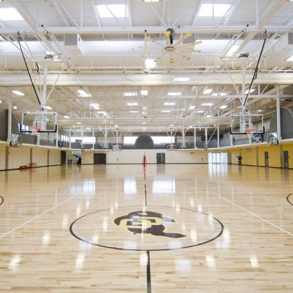 Lower gym basketball court.