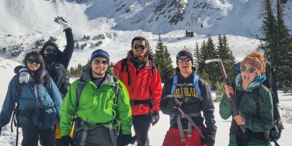 Students on snowshoeing trip