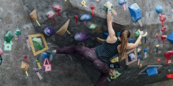 climber in the climbing gym