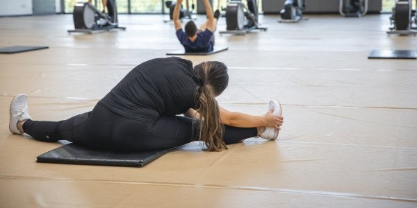 students stretching in the rec center