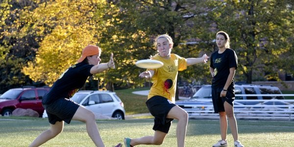 Player throwing a frisbee