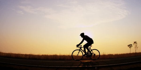 cyclist on a cliff