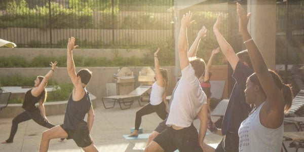 outdoor yoga session at sunset