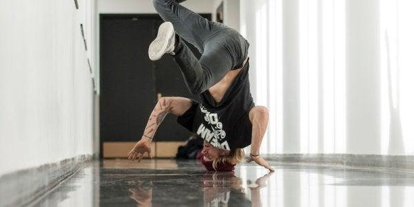 Student breakdancing