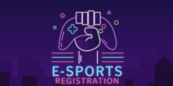 hand holding a controller, text reads esports registration