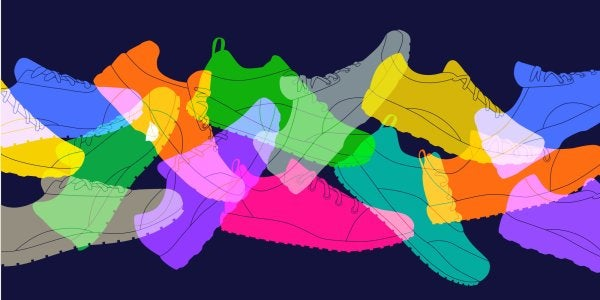 colorful shoes running on each other