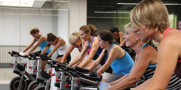 Students in cycling class