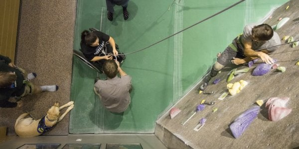 climbing on the adaptive climbing wall