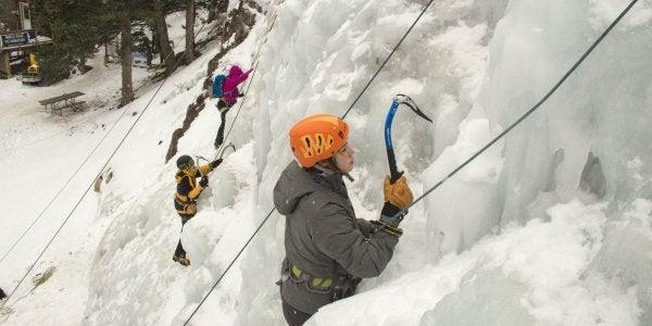 Students ice climbing