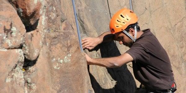 Person climbing outdoors