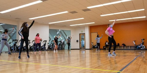 students dancing in the studio
