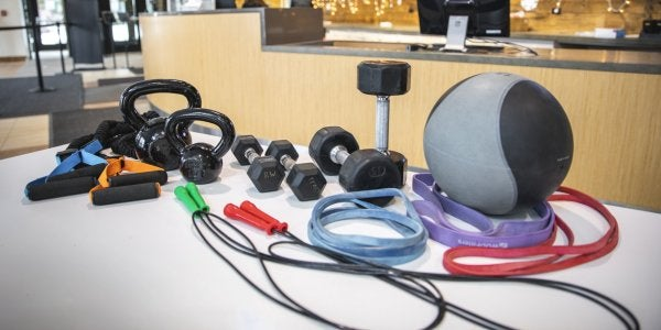dumbbells, jump ropes, and various other equipment