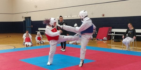 Students practicing taekwondo