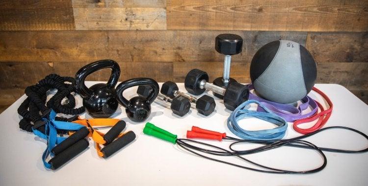 dumbbells, kettlebells, jump ropes, trx cables