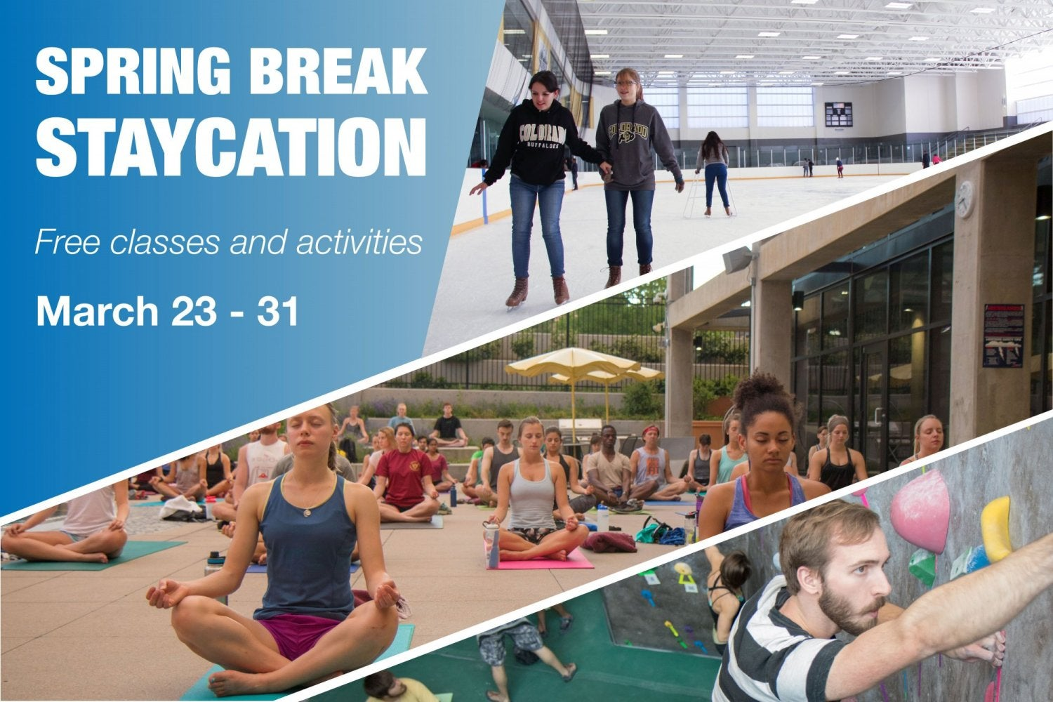 Collage of various activities at the rec center