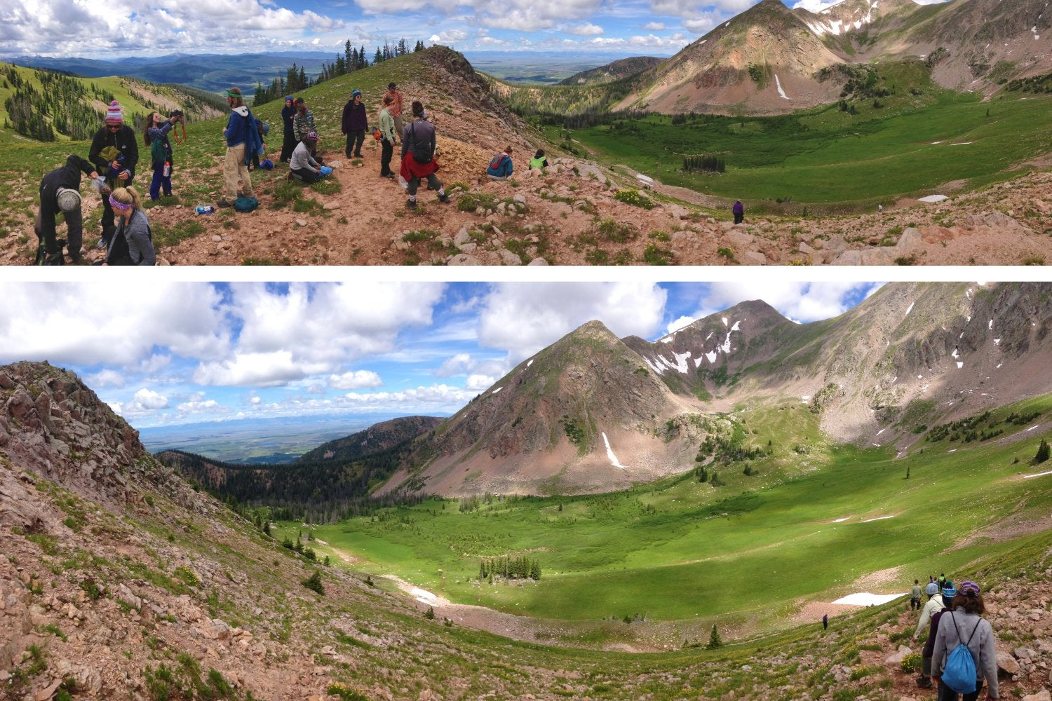 Hiking group on mountain