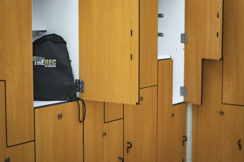 CU Rec Center locker with bag inside