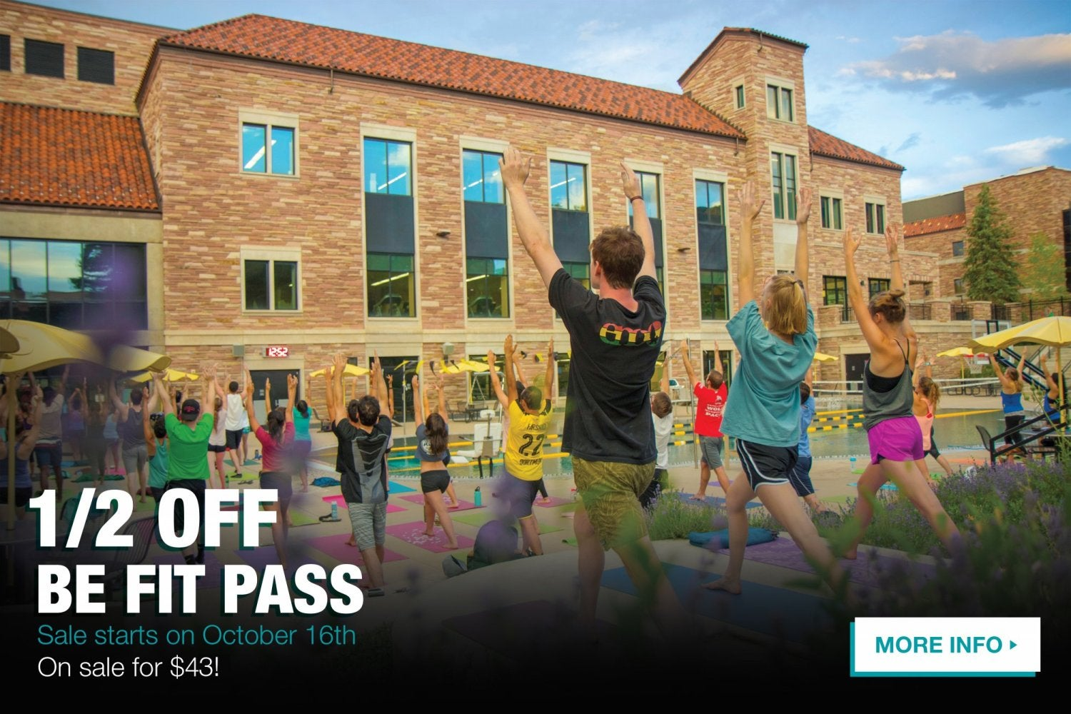 Be Fit pass half off.  Click here for more information