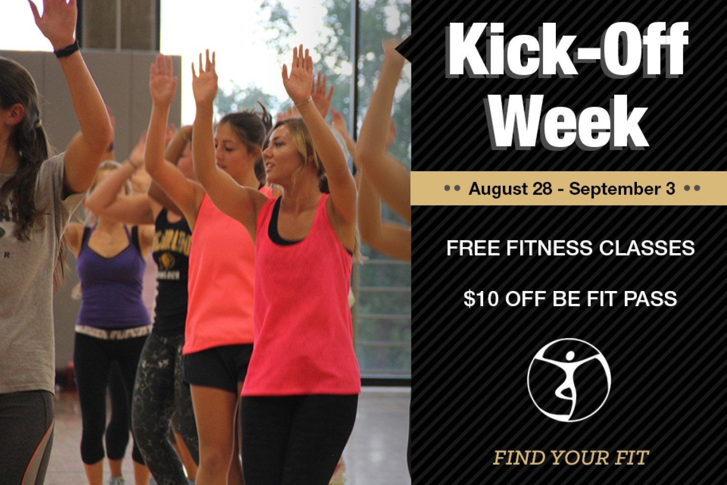 kickoff week.  free fitness classes aug 28-sept 3