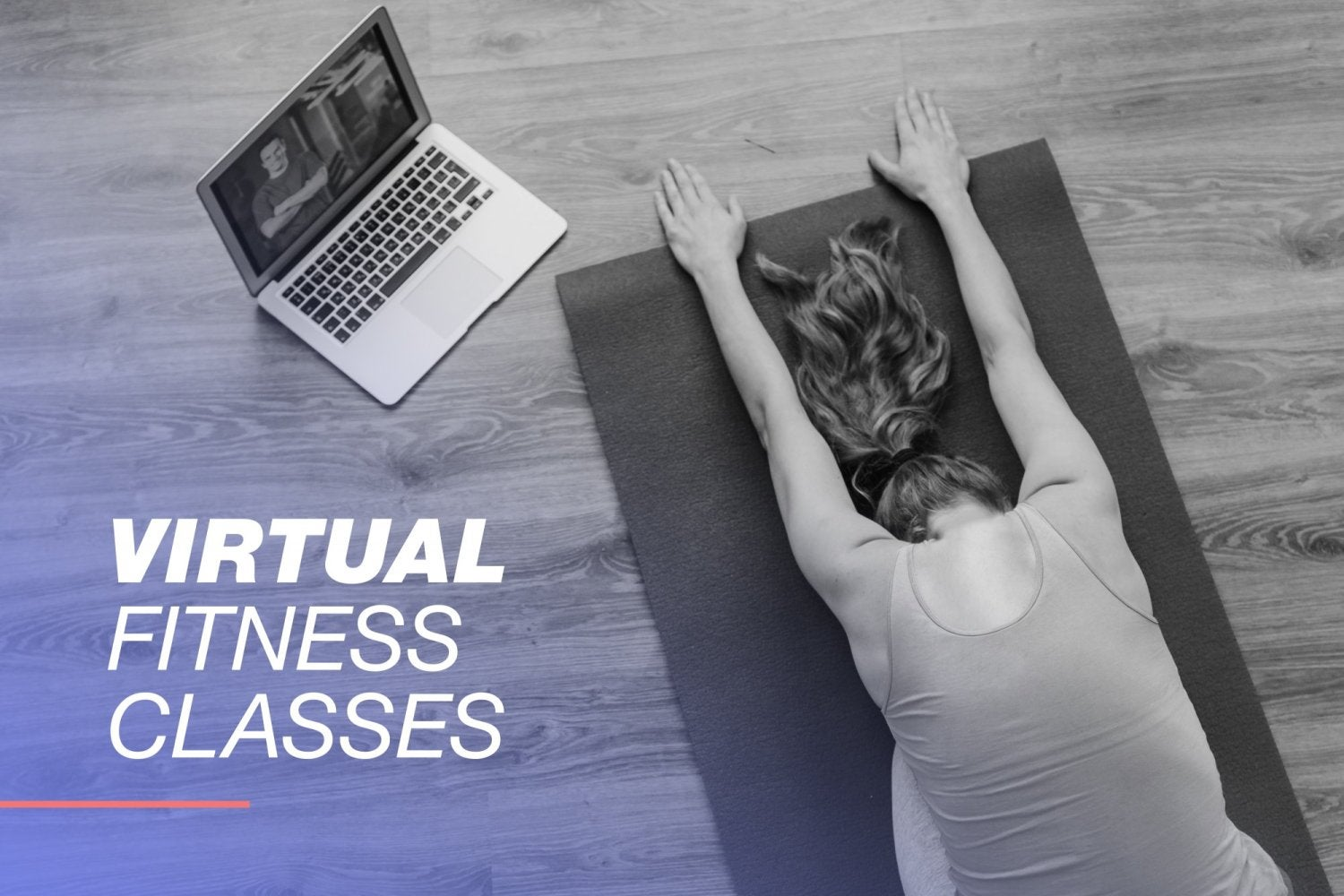 Person practicing yoga with a laptop next to them