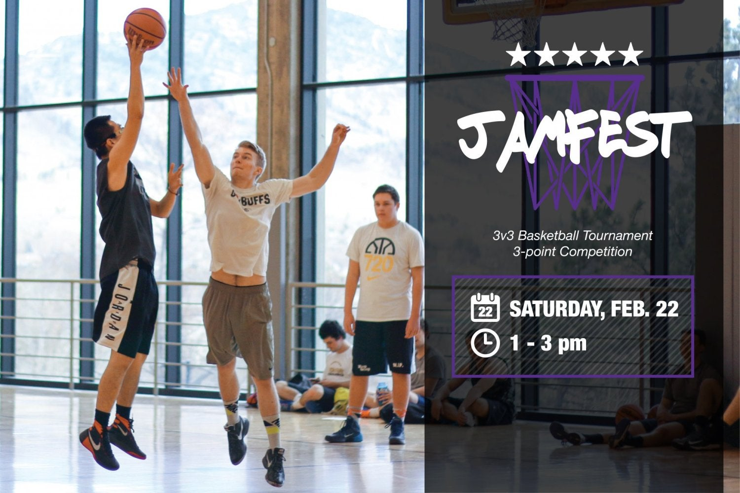 """Two people playing basketball and text on the right saying """"Jamfest"""""""