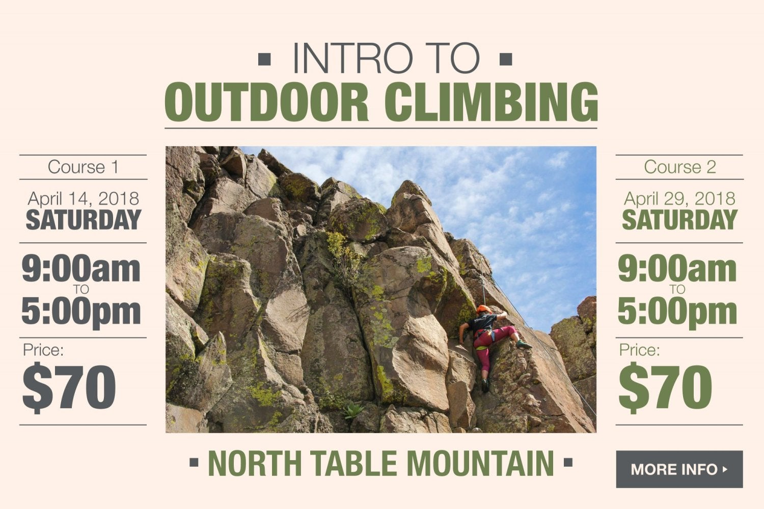 Intro to outdoor climbing.  click for more information