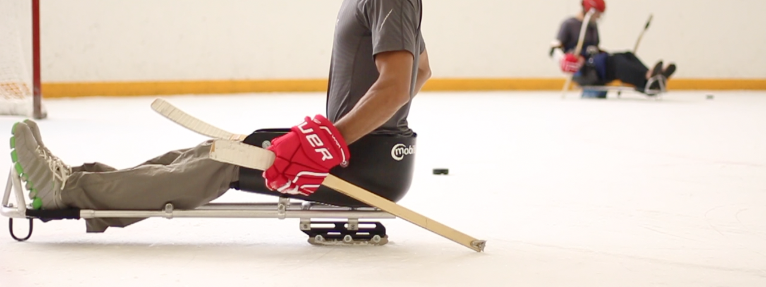 Ice Hockey player in ice sleds on ice rink