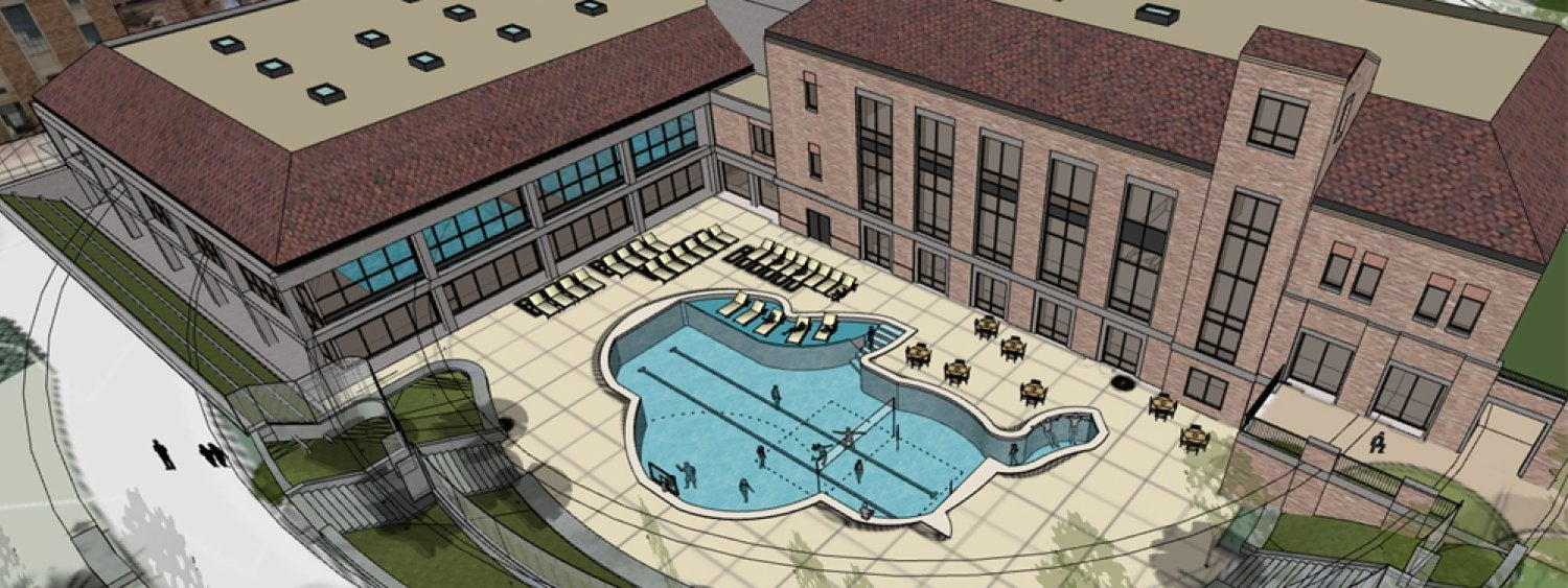 Drawing of new new Rec Center outdoor swimming pool