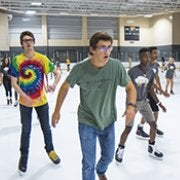 Students skating in the ice rink.