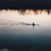 lone kayaker on the empty water