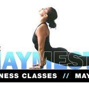 maymester at the rec and woman stretching