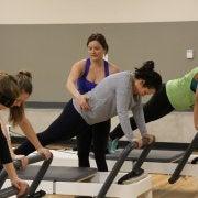 students doing pilates