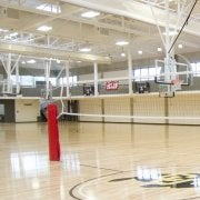 Basketball court with volleyball nets set up