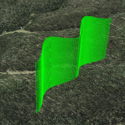 A stitched two-segment guidance trajectory in Google Earth