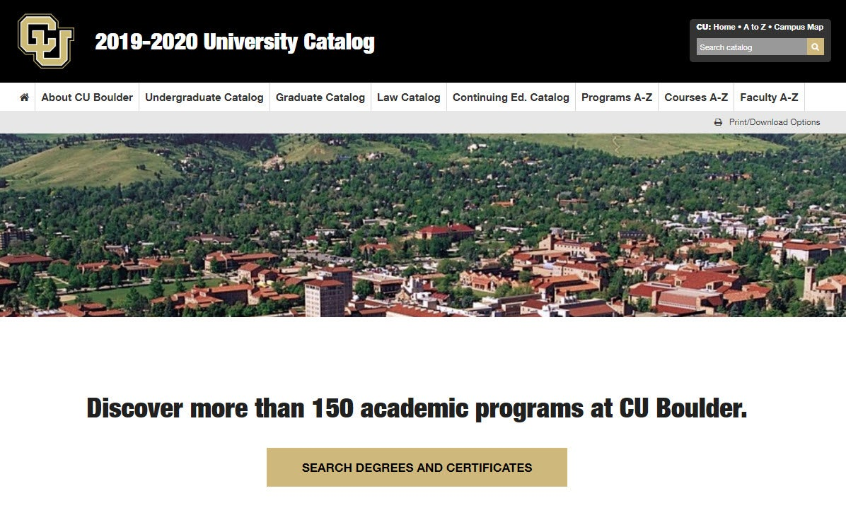 Screenshot of the 2019–20 CU Boulder catalog homepage.
