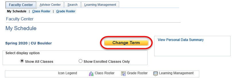 """On your Faculty Center's My Schedule page, click """"Change Term."""""""