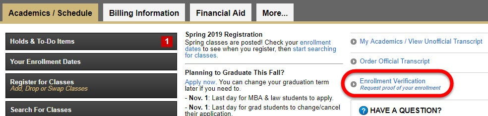 """On your Student tab in MyCUInfo, click the """"Enrollment Verification"""" link."""