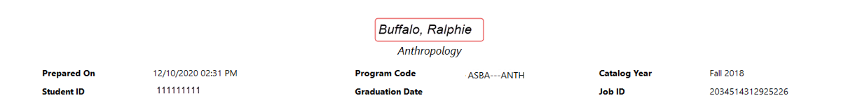 """A screenshot of the top of a sample degree audit. The student's name is listed first (""""Buffalo, Ralphie""""), followed by their degree program (""""Anthropology""""), the date on which the audit was prepared, their program's code and catalog year, their ID number and graduation date, and the job ID for the audit."""