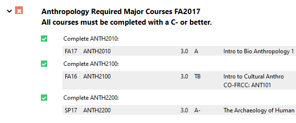 """""""Complete ANTH2021."""" Below that, a gray-shaded row specifies details about the course used to fulfill the sub-requirement, including the term taken, course number, credits earned, grade received and course title."""