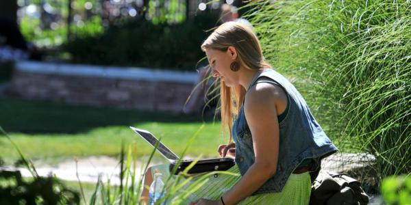 A young woman working outdoors on a laptop.