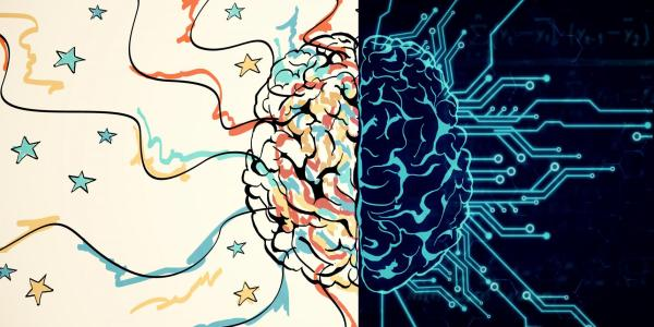 An illustration showing a brain divided into two sides. One side shows circuits coming out from the brain. The other side shows colorful lines and stars.