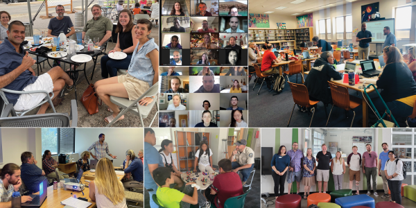 A collage showing iSAT members collaborating together and with students and teachers.