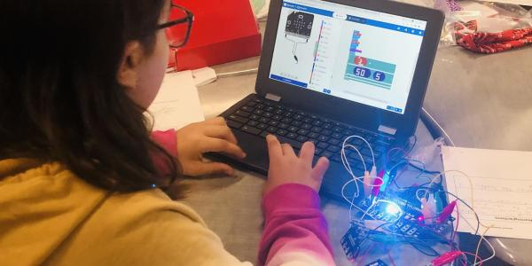 Student working with sensors on a laptop.